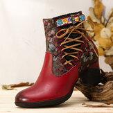 SOCOFY Eleganter Blumenspleiß Warm gefütterter Reißverschluss Chunky Heel Chelsea Stiefel