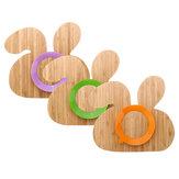 Placa de Sucção Da Criança do bebê Fique Colocar Placa de Alimentação de Bambu Natural Forma de Coelho Crianças Tigela