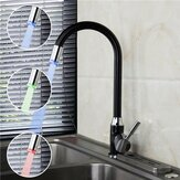 Black Plating Kitchen Sink Hot Cold Faucet Single Handle LED 3 Colors Changing Basin Mixer Tap
