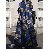 Women Floral Printed Cotton Vintage Maxi Dresses With Side Pockets