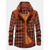 Camicie a maniche lunghe spesse foderate in pile con cerniera scozzese in cotone vintage da uomo