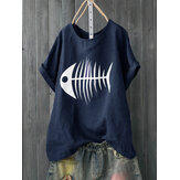 Women Casual Print Fish Bone Short Sleeve Cute T-Shirts