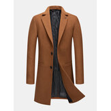 Mens Woolen Single-Breasted Mid-Length Pocket Business Trench Coats