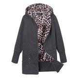 Las mujeres más del tamaño de la sudadera con capucha de leopardo capa delgada ocasional outwear