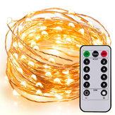 5M / 10M / 10M + Cadena de luces de control remoto Cobre Alambre Lámpara Batería Tipo LED Luz intermitente de linterna al aire libre Impermeable Luz de decoración estrellada Decoración de árbol de Navidad Luz de colores