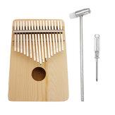 17 Anahtar Kalimba Ahşap Başparmak Piyano Parmak Klavye Enstrüman w / Tuning Hammer Hediye