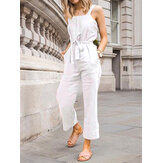 Casual Solid Color Cotton High Waist Loose Sleeveless Sling Jumpsuit with Belt