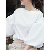 Loose Puff Sleeve Solid Daily O-Neck Blouse