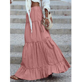 Women Cotton Pleated Frill Solid Holiday Elastic Wais Maxi Skirts