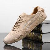 Homens Genuien Respirável Antiderrapante Soft Sola Casual Sapatos de Condução