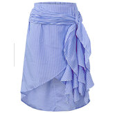 Casual Women Striped Bandage Ethnic Waist Asymmetric Skirts