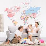 الملونة العالم خريطة بك ملصقات الحائط القابل للماء مكتب غرفة المعيشة الجدار ملصق