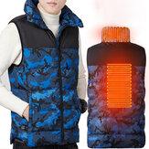 Chaleco térmico de camuflaje TENGOO para hombre, chaqueta eléctrica flexible de invierno con infrarrojos USB, 3 modos, 2 zonas de calefacción, ropa térmica, chaleco pesca, senderismo