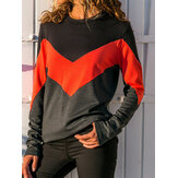 Casual Women Patchwork O-neck Long Sleeve T-shirts
