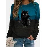 Sweat-shirt décontracté à manches longues à col rond et à imprimé chat noir pour femme