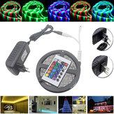 5M防水3528 RGB 300 LEDフレキシブルストリップライト24キーIRリモート+電源アダプタDC12V