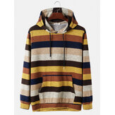 Mens Colorful Striped Fit Drawstring Hoodies With Muff Pocket