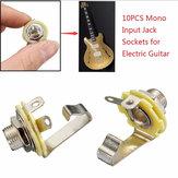 10 قطع 1/4 '' 6.35 ملليمتر أحادية الإدخال جاك المقبس الغيتار الكهربائي باس الصوت لوحة جبل