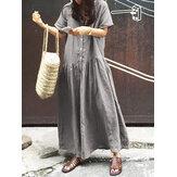 Robe décontractée à manches courtes à col en V pour femmes
