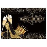 Χρόνια πολλά σκηνικό Κυρία γενέθλια Prom πάρτι φόντο Γυαλιστερό χρυσό στέμμα ψηλοτάκουνα κόμμα πανό Γενέθλια Photo Studio Props