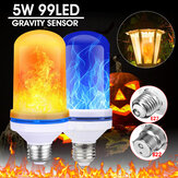 E27/B22 99LED Beads 5W Super Bright 4 Modes Gravity Sensor Flame Effect Light Bulb Lamp Home Christmas Decorations