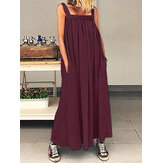 Casual Women Loose Solid Color Side Pockets Sleeveless Dress