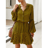 Long Sleveed Plaid Stand Collar Causal Shirt Dress