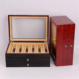 3 طبقات 34 فتحات خشبية صندوق أقلام قلم حبر خشب عرض حافظة حامل تخزين صندوق تجميع أسود أحمر هدايا الأعمال