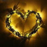 2M 20LEDs Wam White Leaf Garland Copper Fairy String Holiday Light pour décoration de fête de noel DC3V