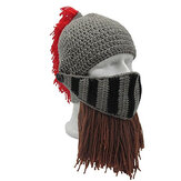 Mens Winter Crochet Knit Beanie Hats Roman Knight Helmet Face Mask Ski Cap Party