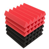6Pcs 30x30x5cm Wedge Sound Insulation Studio Foam Red/Black