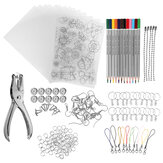 182Pcs Kit de Feuilles En Plastique Thermorétractable Shrinky Art Paper Hole Punch Porte-clés DIY