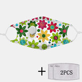 2Pcs PM2.5 Filter Floral Dust-proof Masks With Breathing Masks Non-disposable