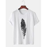 メンズフェザープリントコットン通気性ラウンドネックカジュアル半袖Tシャツ