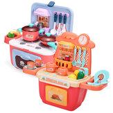 22/26 Pcs Simulation Mini Kitchen Cooking Play Divertido conjunto de brinquedos educativos com iluminação realista e efeitos sonoros para presente infantil
