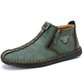 Menico Men Hand Stitching Leather Non Slip Side Zipper Soft Sole Casual Boots