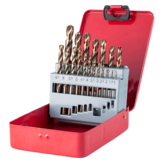 Drillpro M35 Cobalt Drill Bit Set HSS-Co Jobber Length Twist Drill Bits with Metal Case for Stainless Steel Wood Metal Drilling