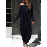 Dames off-shoulder harembroek Casual losse jumpsuit