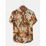 Mens Floral Printed Stand Collar Holiday Casual Short Sleeve Henley Shirts