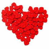 100 piezas de madera de corazón rojo shape coser botones del arte de DIY ropa de bebé botón decoración sombrero de coser