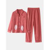 Plus Size Women Cartoon Print Revere Collar Long Sleeve Elastic Waist Home Pajama Set