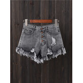 Women Button Up Pocket Loose Hollow Ripped Denim Shorts