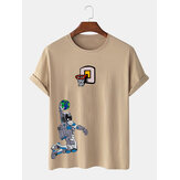 Mens Astronaut Shooting Cartoon Print Crew Neck Short Sleeve T-Shirts