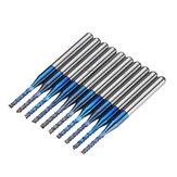 Drillpro 10 шт. 1,1-1,5 мм синий покрытый NACO биты для печатных плат карбид гравировальный фрезерный станок для ЧПУ Инструмент роторные боры