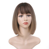 Charming Fluffy Straight Hair Wig High-Temperature Fiber Natural Short Hair Full Wigs Gradual Brown