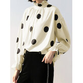 Women Polka Dot Lantern Sleeve Ruffle Casual Blouse