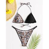 Women Triangle Leopard Patchwork String Backless Bikini Backless Swimsuit