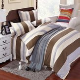 3/4 Pieces Stripe Cotton Bedding Sets with High Quality Duvet Cover Pillow Case and Bed Sheet