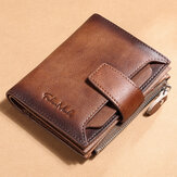 Men Genuine Leather RFID Anti-theft Multi-slot Retro Large Capacity Foldable Card Holder Wallet