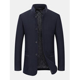 Mens Stand Collar Single Breasted Warm Double Pocket Woolen Trench Coats